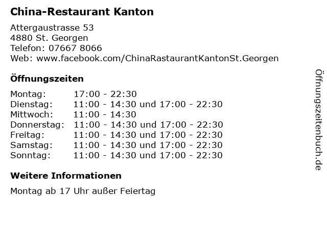 China-Restaurant Kanton in St. Georgen: Adresse und Öffnungszeiten
