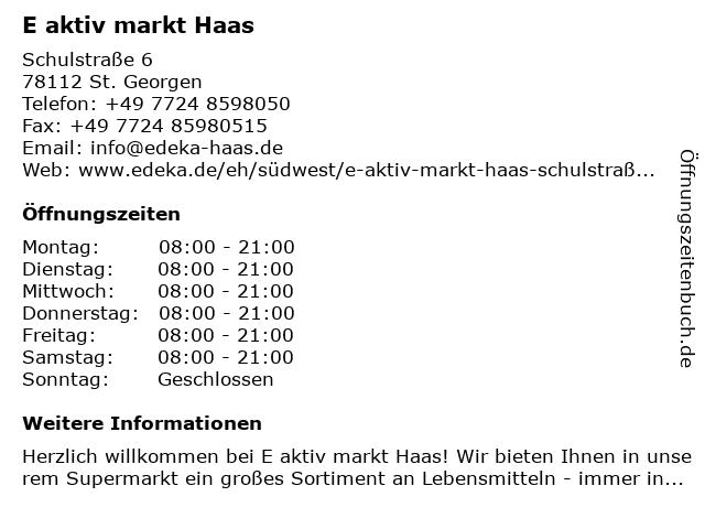 E aktiv markt Haas in St. Georgen: Adresse und Öffnungszeiten