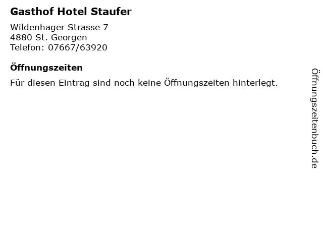 Gasthof Hotel Staufer in St. Georgen: Adresse und Öffnungszeiten