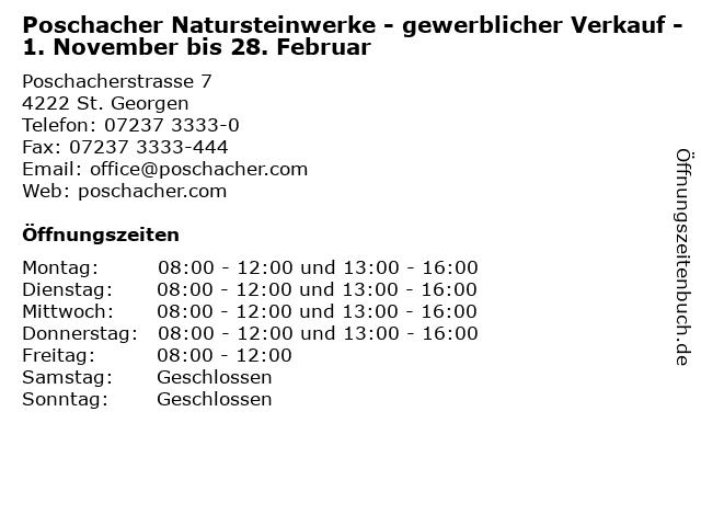 Poschacher Natursteinwerke - gewerblicher Verkauf - 1. November bis 28. Februar in St. Georgen: Adresse und Öffnungszeiten