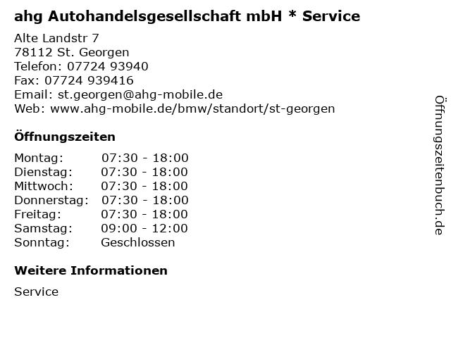 ahg Autohandelsgesellschaft mbH * Service in St. Georgen: Adresse und Öffnungszeiten