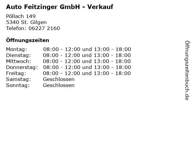 Auto Feitzinger GmbH - Verkauf in St. Gilgen: Adresse und Öffnungszeiten
