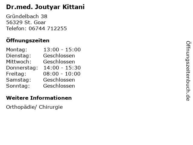 Dr.med. Joutyar Kittani in St. Goar: Adresse und Öffnungszeiten