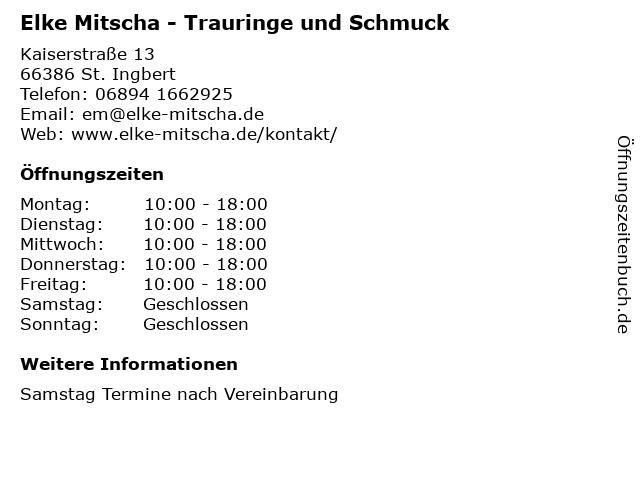 Elke Mitscha - Trauringe und Schmuck in St. Ingbert: Adresse und Öffnungszeiten