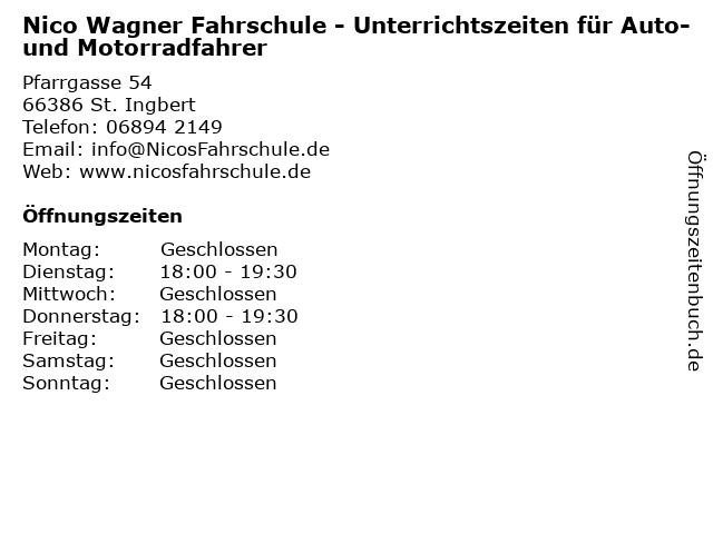 Nico Wagner Fahrschule - Unterrichtszeiten für Auto- und Motorradfahrer in St. Ingbert: Adresse und Öffnungszeiten