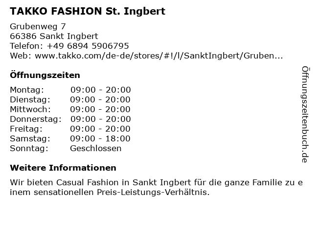 Takko Fashion in St. Ingbert: Adresse und Öffnungszeiten