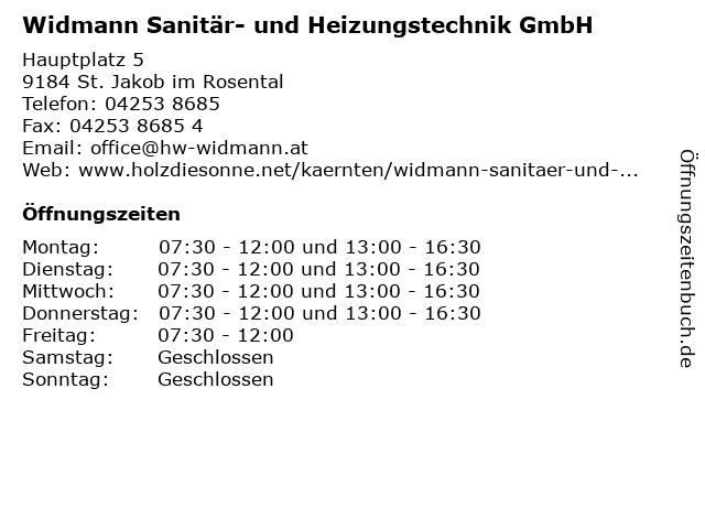 Widmann Sanitär- und Heizungstechnik GmbH in St. Jakob im Rosental: Adresse und Öffnungszeiten