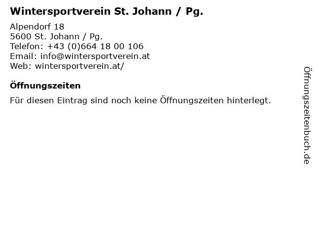 Wintersportverein St. Johann / Pg. in St. Johann / Pg.: Adresse und Öffnungszeiten
