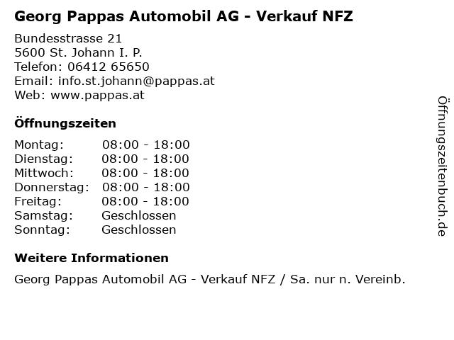 Georg Pappas Automobil AG - Verkauf NFZ in St. Johann I. P.: Adresse und Öffnungszeiten