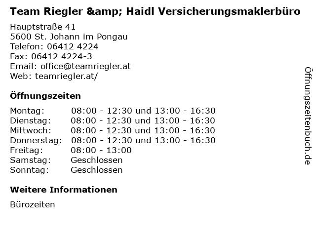 Team Riegler & Haidl Versicherungsmaklerbüro in St. Johann im Pongau: Adresse und Öffnungszeiten