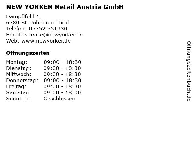 NEW YORKER Retail Austria GmbH in St. Johann in Tirol: Adresse und Öffnungszeiten