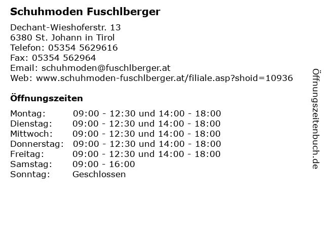 Schuhmoden Fuschlberger in St. Johann in Tirol: Adresse und Öffnungszeiten