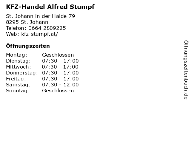 KFZ-Handel Alfred Stumpf in St. Johann: Adresse und Öffnungszeiten