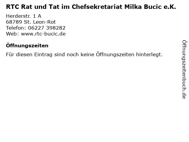 RTC Rat und Tat im Chefsekretariat Milka Bucic e.K. in St. Leon-Rot: Adresse und Öffnungszeiten