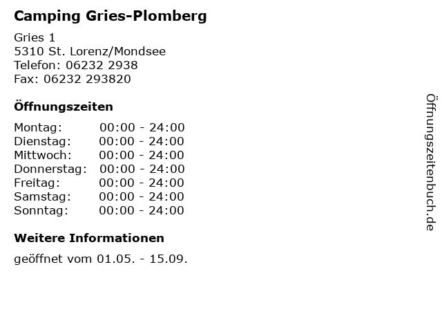 Camping Gries-Plomberg in St. Lorenz/Mondsee: Adresse und Öffnungszeiten