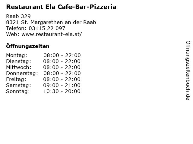 Restaurant Ela Cafe-Bar-Pizzeria in St. Margarethen an der Raab: Adresse und Öffnungszeiten