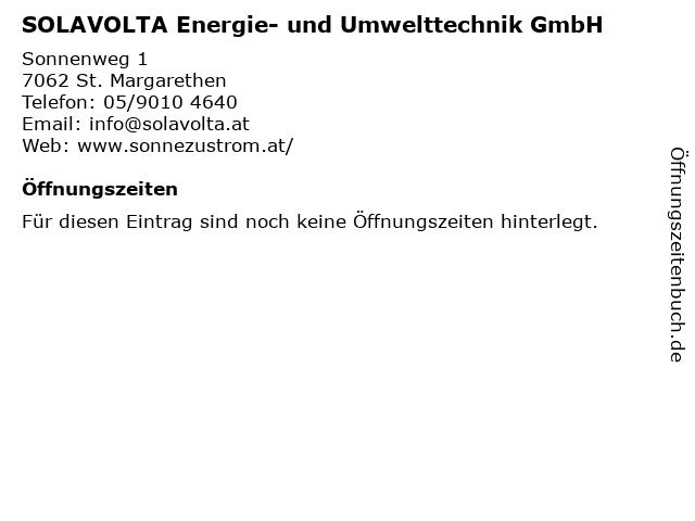 SOLAVOLTA Energie- und Umwelttechnik GmbH in St. Margarethen: Adresse und Öffnungszeiten