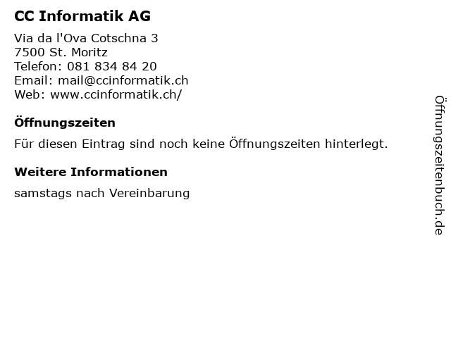 CC Informatik AG in St. Moritz: Adresse und Öffnungszeiten