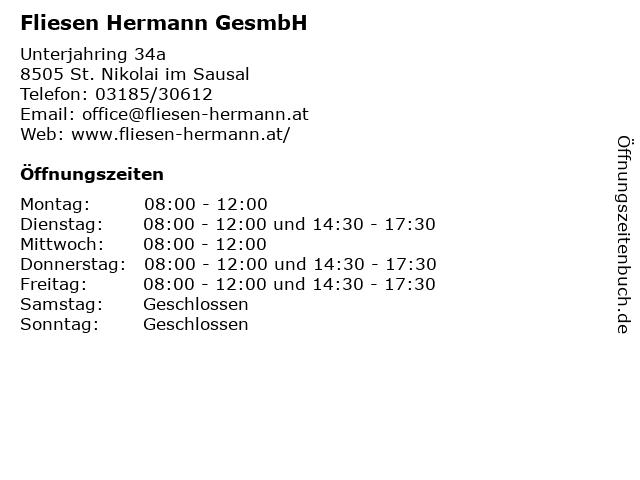 Fliesen Hermann GesmbH in St. Nikolai im Sausal: Adresse und Öffnungszeiten