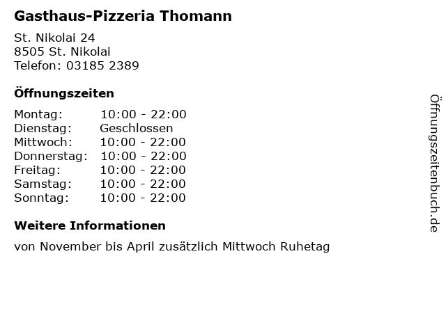 Gasthaus-Pizzeria Thomann in St. Nikolai: Adresse und Öffnungszeiten