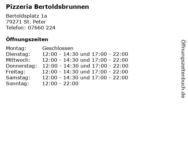 Pizzeria Bertoldsbrunnen in St. Peter: Adresse und Öffnungszeiten