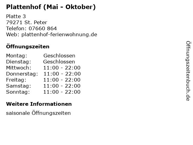 Plattenhof (Mai - Oktober) in St. Peter: Adresse und Öffnungszeiten