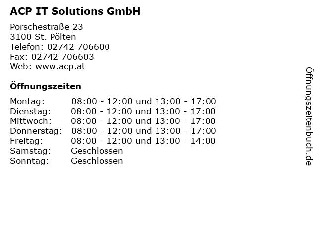 ACP IT Solutions GmbH in St. Pölten: Adresse und Öffnungszeiten