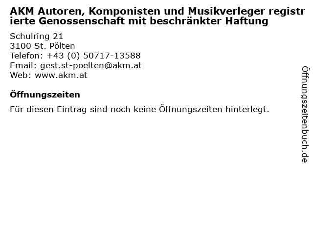 AKM Autoren, Komponisten und Musikverleger registrierte Genossenschaft mit beschränkter Haftung in St. Pölten: Adresse und Öffnungszeiten