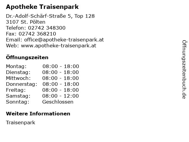 Apotheke Traisenpark in St. Pölten: Adresse und Öffnungszeiten