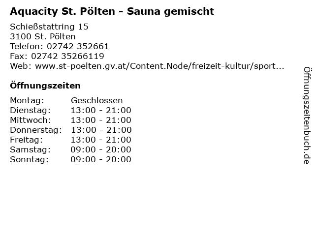 Aquacity St. Pölten - Sauna gemischt in St. Pölten: Adresse und Öffnungszeiten