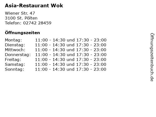 Asia-Restaurant Wok in St. Pölten: Adresse und Öffnungszeiten