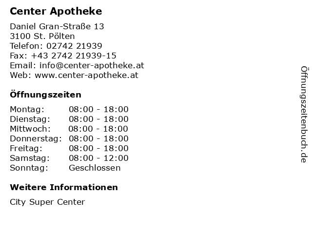 Center Apotheke in St. Pölten: Adresse und Öffnungszeiten