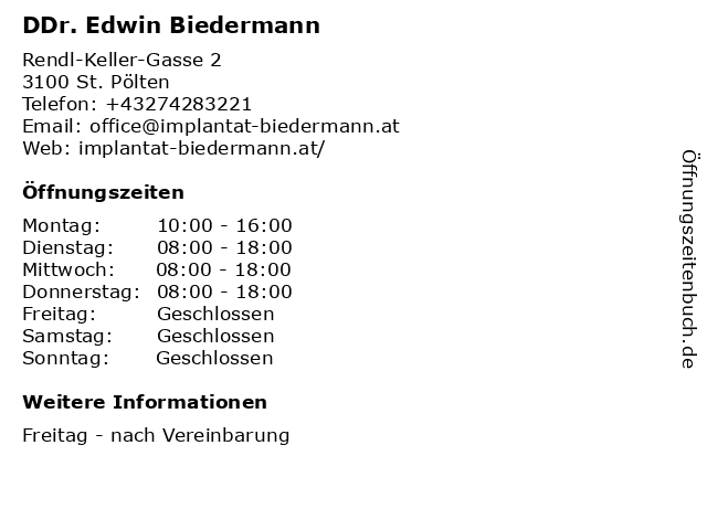 DDr. Edwin Biedermann in St. Pölten: Adresse und Öffnungszeiten