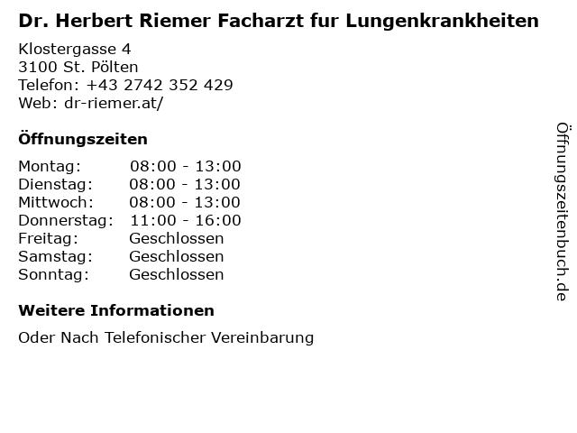Dr. Herbert Riemer Facharzt fur Lungenkrankheiten in St. Pölten: Adresse und Öffnungszeiten