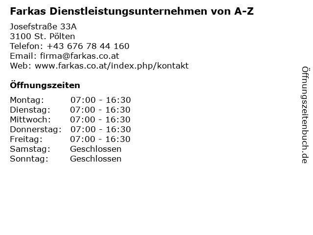 Farkas Dienstleistungsunternehmen von A-Z in St. Pölten: Adresse und Öffnungszeiten