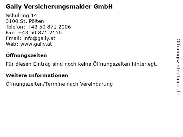 Gally Versicherungsmakler GmbH in St. Pölten: Adresse und Öffnungszeiten