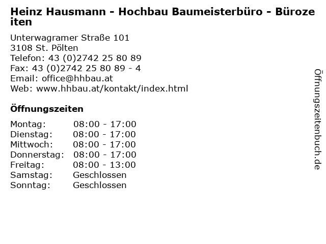 Heinz Hausmann - Hochbau Baumeisterbüro - Bürozeiten in St. Pölten: Adresse und Öffnungszeiten