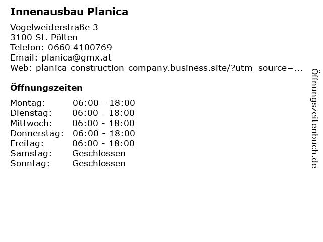 Innenausbau Planica in St. Pölten: Adresse und Öffnungszeiten