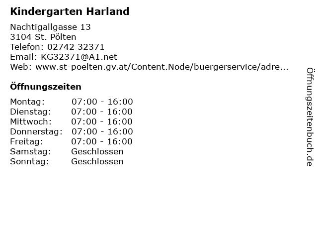 ᐅ Offnungszeiten Kindergarten Harland Nachtigallgasse 13 In St