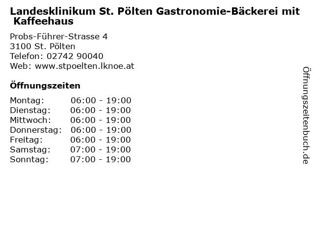 Landesklinikum St. Pölten Gastronomie-Bäckerei mit Kaffeehaus in St. Pölten: Adresse und Öffnungszeiten