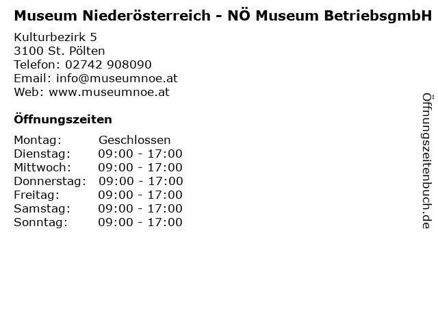 Landesmuseum Niederösterreich in St. Pölten: Adresse und Öffnungszeiten