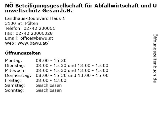NÖ Beteiligungsgesellschaft für Abfallwirtschaft und Umweltschutz Ges.m.b.H. in St. Pölten: Adresse und Öffnungszeiten