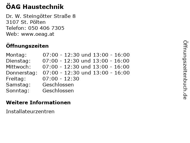 ÖAG Haustechnik in St. Pölten: Adresse und Öffnungszeiten