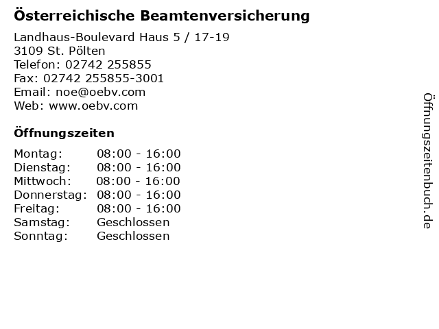 Österreichische Beamtenversicherung in St. Pölten: Adresse und Öffnungszeiten
