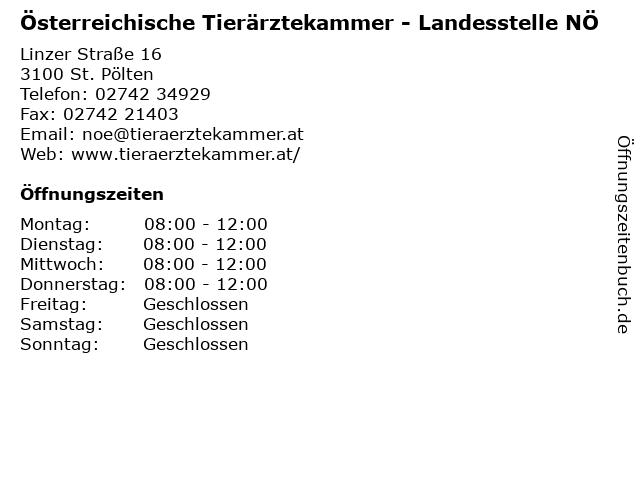 Österreichische Tierärztekammer - Landesstelle NÖ in St. Pölten: Adresse und Öffnungszeiten