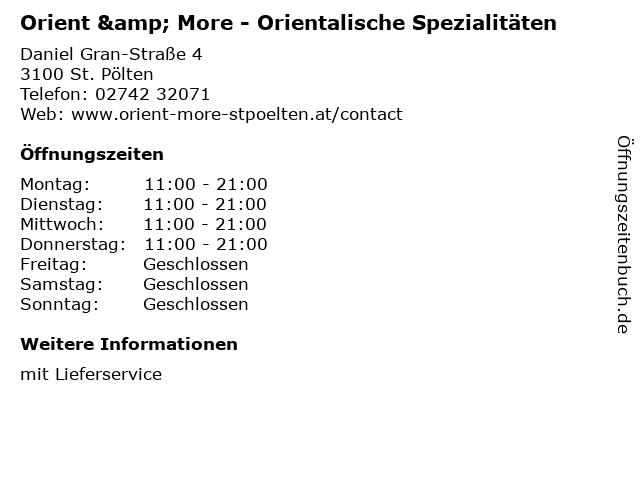 Orient & More - Orientalische Spezialitäten in St. Pölten: Adresse und Öffnungszeiten