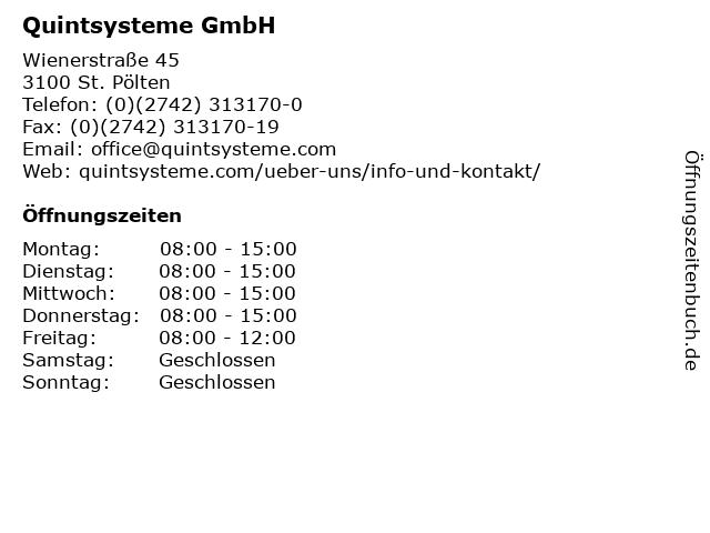 Quintsysteme GmbH in St. Pölten: Adresse und Öffnungszeiten