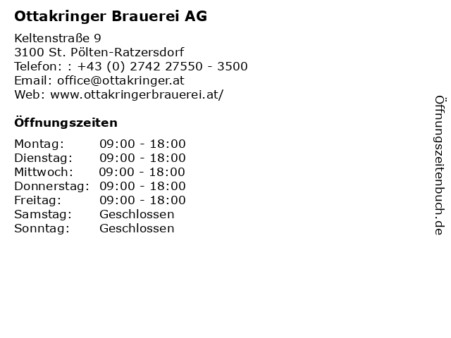 Ottakringer Brauerei AG in St. Pölten-Ratzersdorf: Adresse und Öffnungszeiten