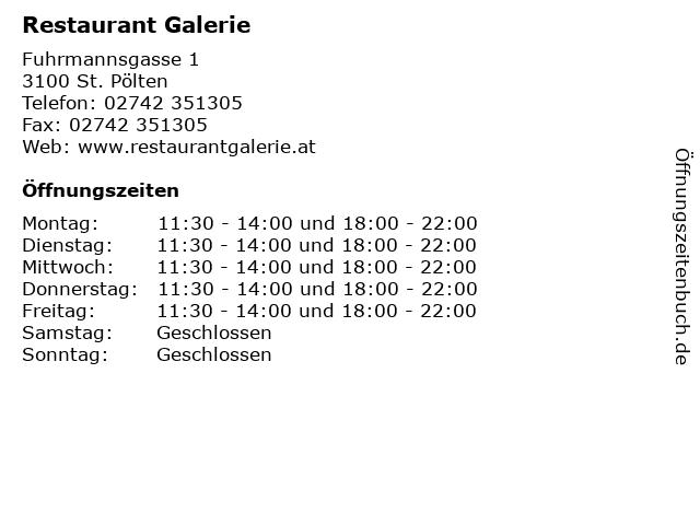 Restaurant Galerie in St. Pölten: Adresse und Öffnungszeiten