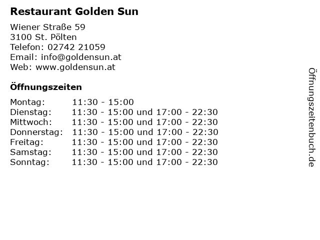 Restaurant Golden Sun in St. Pölten: Adresse und Öffnungszeiten